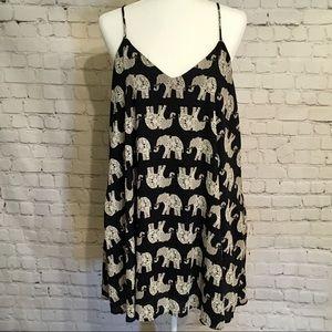 Peach Love California - Navy Elephant Dress - L